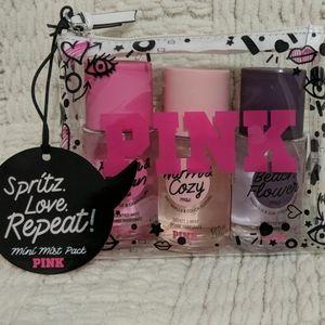 Pink body spray gift w makeup bag